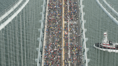 The first mile of the New York Marathon on the stunning Narrows bridge (Image: Metropolitan Transportation Authority | Patrick Cashin)