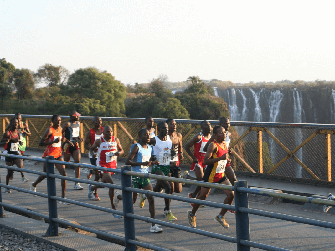 Stunning backdrop in the Victoria Falls Run