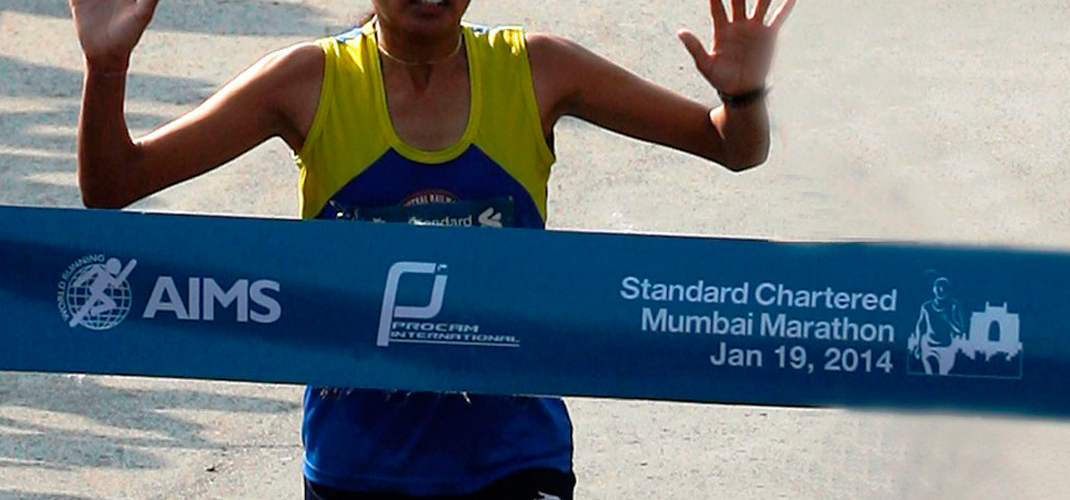 Lalita Babar won the 2014 Mumbai Marathon