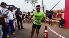Barefoot marathoner at the Goa River Marathon on December 13, 2015