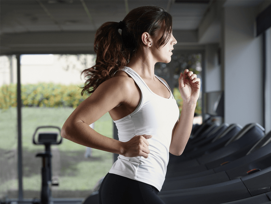 Pump up the cardio with a treadmill run, which allows you to control things like elevation and pace
