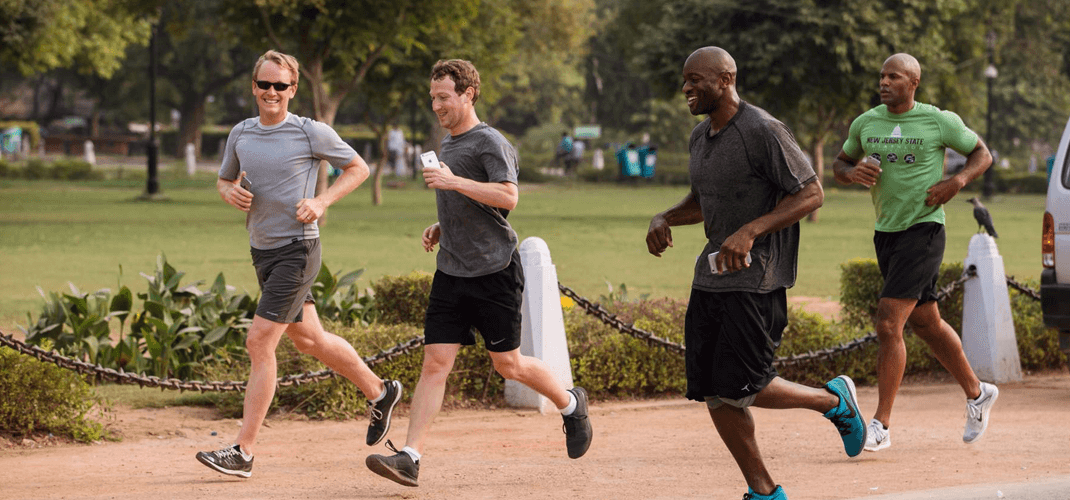 Mark Zuckerberg came into some criticism for publicising his year of running while heel-striking