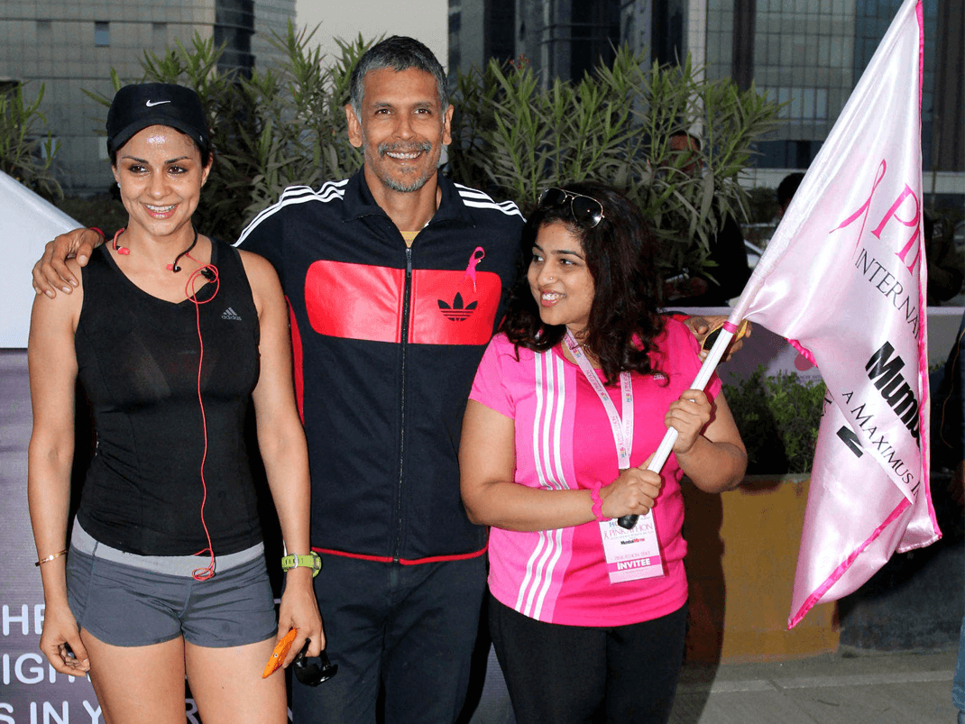 mobiefit co-founder Gul Panag and mobiefit RUN fitness icon Milind Soman are actively involved in the Pinkathon