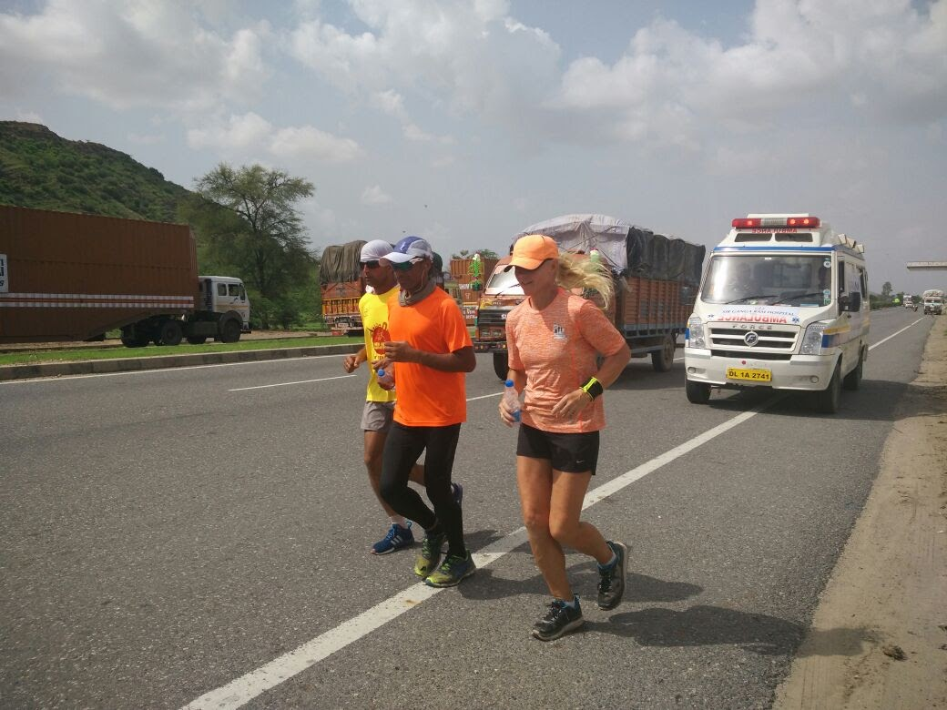Pia Hansson and Arun on Day 4 of The Great India Run