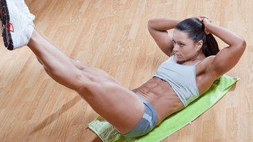Frog crunches, a pilates workout for flat belly