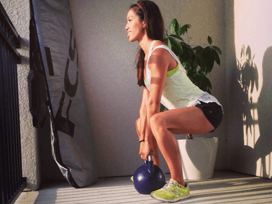 Add in a weight or kettleball to increase the intensity before your first 5K. Make sure you are squatting well below the knee line in a Sumo Squat (claudinefoong.wordpress.com)