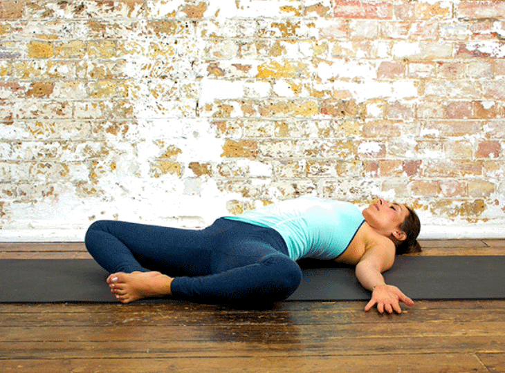 The reclined bound angle pose adds an extra element of difficulty and should ideally be performed only after practising the standard pose regularly