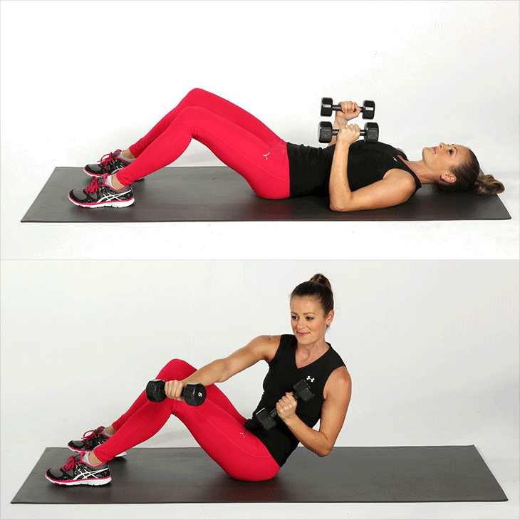 Oblique bends with free weights. A crucial exercise before your first 5K (PopSugar)