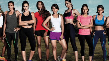 Jaie Bhadane (centre) in the Nike 'Da Da Ding' promotional photograph featuring India's top sportswomen and fitness experts