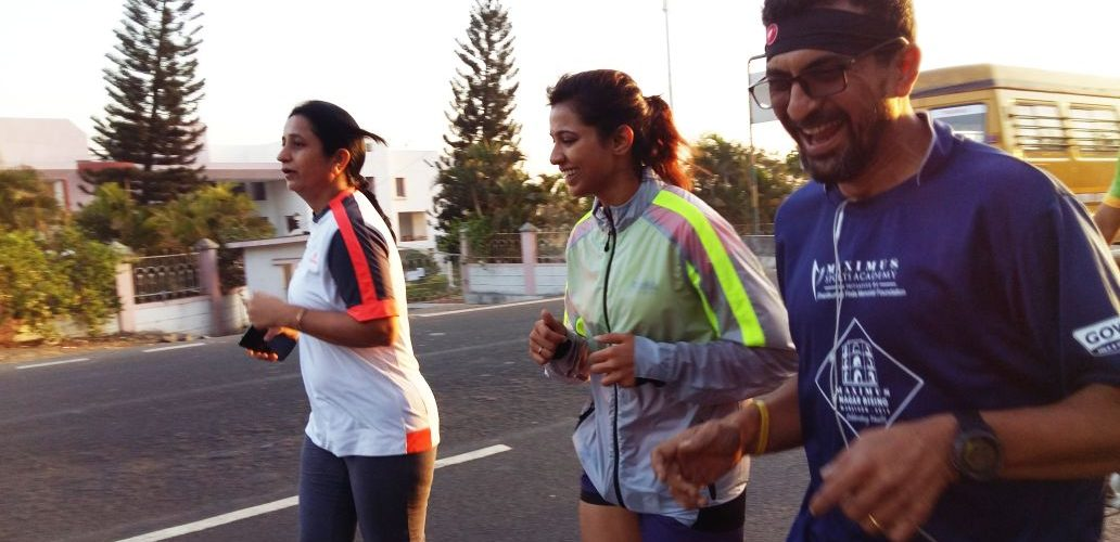 Anuja Mudda during her epic ultra run from Pune to Goa to raise money in the #StepsToSmiles Challenges